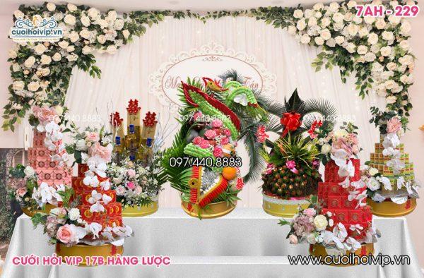 Lễ ăn hỏi 7 tráp Rồng Phượng kết chung mới 7AH-229