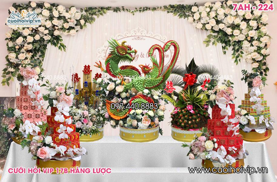 Tráp ăn hỏi 7 lễ Rồng Phượng kết chung vip 7AH-224