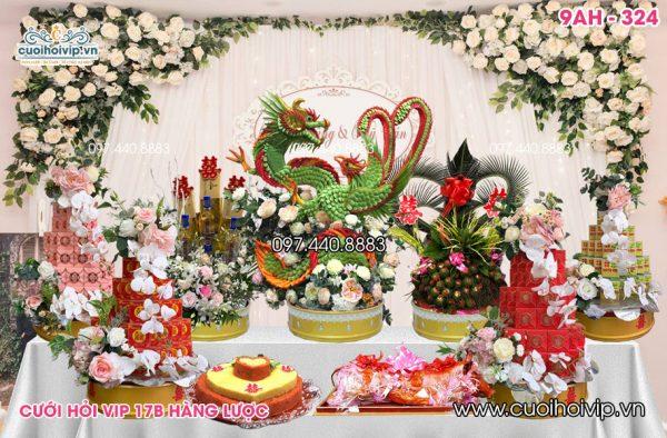 Lễ ăn hỏi 9 tráp Rồng Phượng 3D 9AH-324
